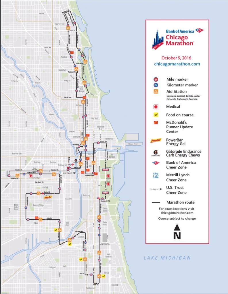 Reittikartta Chicagon Maratonin sivuilta.